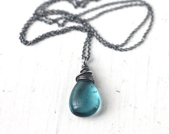 Fluorite Necklace Wire Wrapped in Oxidized Sterling Silver - Teal Blue Gemstone