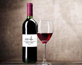 Wedding Wine Label, We Do Wine Label, Wedding Printable, Printable Wine Label, Wedding Template, Editable PDF, Instant Download E55C