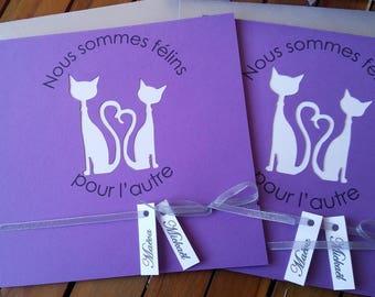 Purple cats Theme wedding invitation