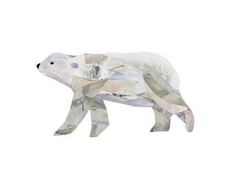 Polar Bear 8.5 x 11 Print of an Original Collage