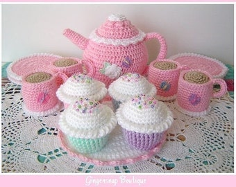 PDF Crochet Pattern - Tea Set