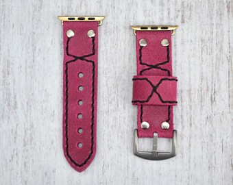 Pink Leather apple watch band 38mm / 42mm // apple watch accessories - leather apple watch strap - iwatch band leather - lugs adapter