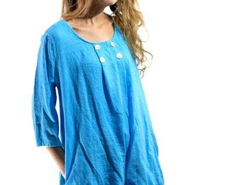 Women Italian Jersey Langelook Quirky Plain Button Detail Medium Linen Tunic Top