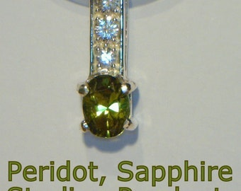 Green Peridot and White Sapphire Handmade Sterling 925 Silver Ladies Pendant