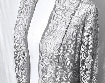 Gray Lace Kimono, Floor length duster, Long cardigan, Long sleeves, Boho Kimono, Women's clothing, Kimono robe, Gift for her, Vintage