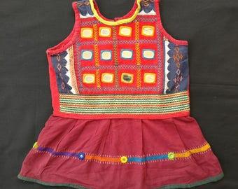 Banjara Baby Dress, Tribal Dress Hand Embroidery , Gypsy Dress with Mirror Work