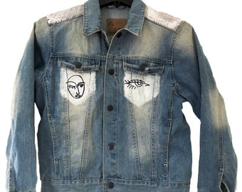 Hand Painted Picasso denim jacket (XS-S)