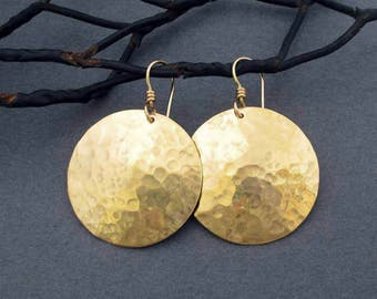 Hammered Gold Disc Earrings in Shiny Gold Tone Brass Dangles and 14k Gold Filled Ear Wire Round Dangles Handmade Modern Metal Jewelry