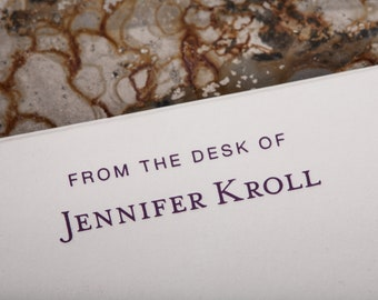 Personalized letterpress Note Cards (150 notecards) for him or her with acrylic holder