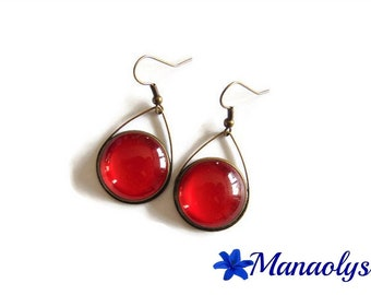 Earrings red drops and glass cabochons