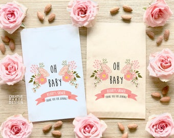 Oh Baby Favor Bags / Baby Shower Treat Bags / Party Favor Bags / Baby Girl Shower Decorations / BBS-09