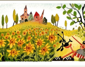 Pinocchio and the sunflowers, children room decor, children picture, children print, illustration, illustration child, home decor, drawing