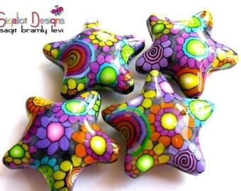 Disco Stars -2 Handmade polymer clay beads - fluffy stars  32mm