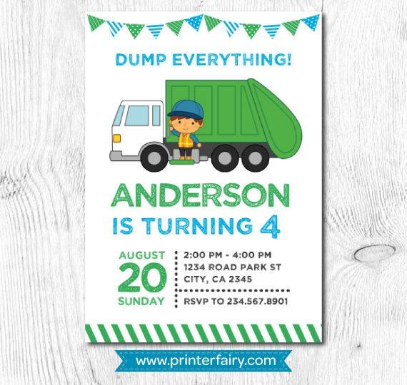 Garbage truck birthday trash truck invitation garbage invitation recycle birthday party garbage truck invite digital 2 options gallery photo gallery photo gallery photo gallery photo filmwisefo