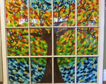 Hand Painted Window, Fall Tree, Fall Leaves, Fall Painting, Painted Window, Repurposed Window, Home Decor, Autumn Tree, Wall Decor