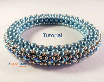 Cubic Right Angle Weave Tutorial - Bracelet Pattern - Beading Pattern and Tutorial - Beadweaving Tutorial - Tennis Bracelet Bangle