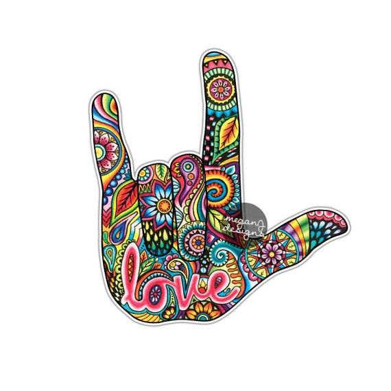 I Love You Sign Language Hand Sticker Decal Multicolor Car