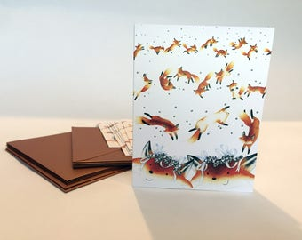 Jingle Foxes Note Cards - Set of ten