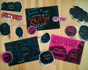 Critters movie fan set (3 postcards + 12 stickers)
