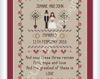 Faith Hope and Love Wedding Cross Stitch Sampler FULL KIT