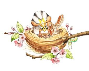 Bird Nursery, Baby Bird, Mommy and Baby, Nest Art, Bird Nest Art, Bird Watercolor, White Throated, Sparrow, Cherry Blossoms, Caterpillar