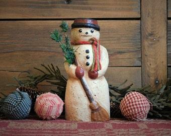 PRIMITIVE SNOWMAN With Broom- Paper Mache Folk Art Christmas Decoration