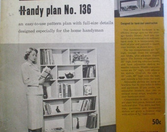 Better Homes and Gardens Handy Plan 136, 1950's Woodworking Plans For A Bookcase, Unopened