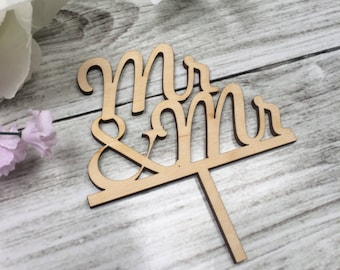 Mr and Mr Gay Wedding Cake Topper - Gold and Wood - Choose your Colour!