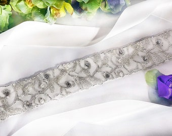 Mesh Seed Bead and Pearl Bridal Sash, Bride sash, Bridal Belt, Wedding Sash, Wedding Accessory, Pearl Bridal Belt, Bridal Sashes And Belts