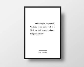 Walt Whitman, Travel Quote, Life Quote, Romantic Quote, Book Art, Book Lover, Walt Whitman Quote, Travel Lover Gift, Book Lover Gift