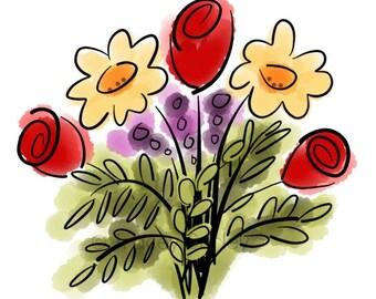 Watercolor Flower Bouquet Original Art - Digital Download - flower clip art
