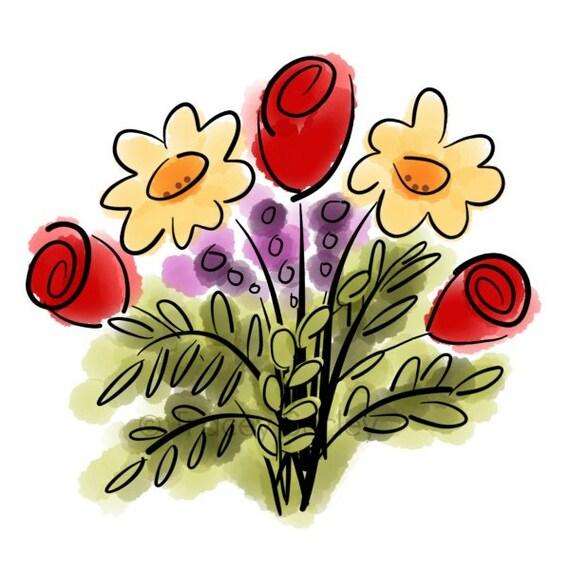 watercolor flower bouquet original art digital download rh etsy com flower bouquet clipart black and white flower bouquet clipart black and white