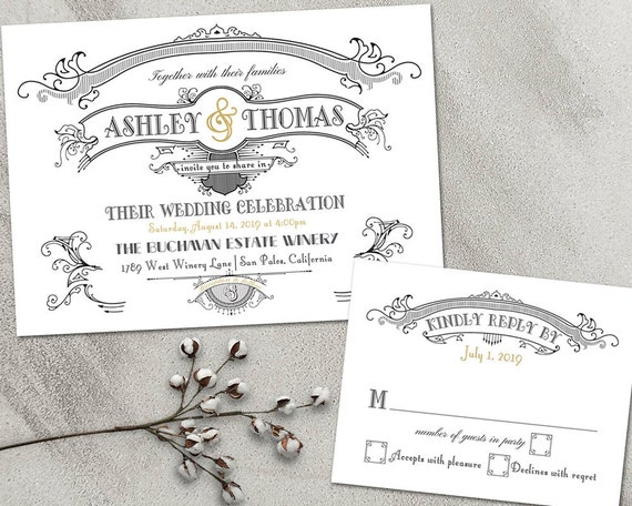 Great Gatsby Wedding Invitation: Great Gatsby Wedding Invitations Set Art Deco Wedding Suite