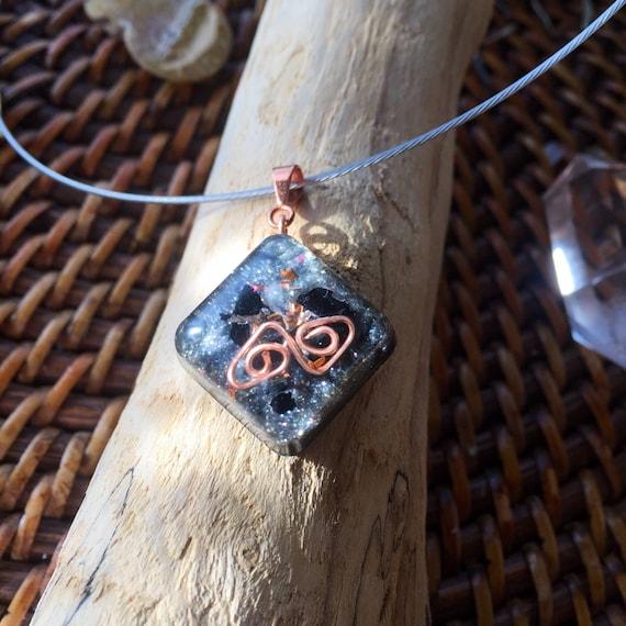 Stardust Orgonite® charm- Spirit Goddess Talisman- White Magick Orgone Energy Generator Necklace- Shungite- Negative Energy Protection