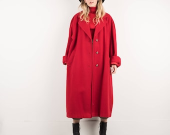 AMAZING Vintage Cherry Red Oversized Wool Coat / S / hipster jacket coat womens outerwear overcoat ruby coat