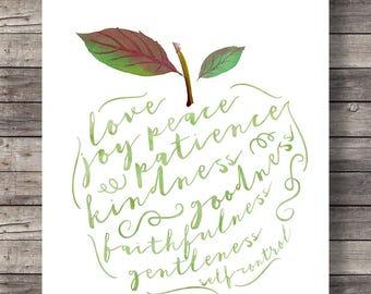 Fruit of the Spirit, Bible verse, Galatians 5v22, Apple watercolor, typography, Scripture print, fruit art print, wall art, calligraphy art