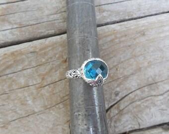ON SALE Beautiful London Blue topaz ring handmade in sterling silver