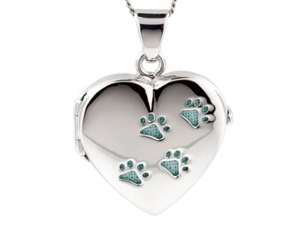 Silver Heart Pet Locket Blue Paw Prints