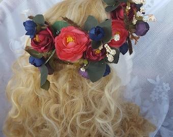Rose Pink Flower Wedding Crown, Bridal Flower Crown, Bridesmaid Floral Crown, Flower Girl Floral Crown,Flower Halo, Fairy Flower Crown