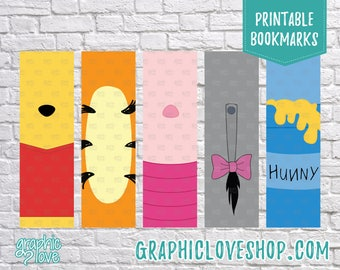 Winnie the Pooh Inspired Printable Bookmarks, Set of 5 designs | Disney Party Favor, Tigger, Piglet, Eeyore, Reading | Instant download, JPG