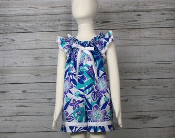 4T Purple and Blue Floral Cotton Pull On Romper