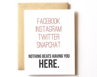 I Miss you Card, Funny, Thinking of you, Facebook, Long Distance, Boyfriend, Girlfriend, Friend, Twitter, Instagram, Snapchat, Just Because