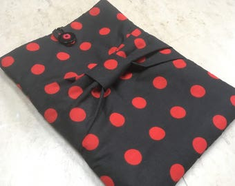 iPad Pro Case, Womens laptop bag, Pretty tablet cover, Soft iPad cosy, Samsung Galaxy cover, Fabric tech sleeve, Red polka dot, Tablet pouch