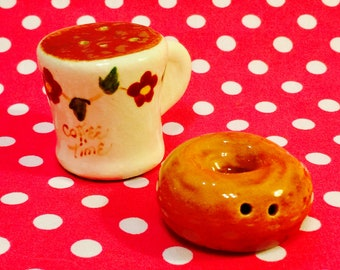 Coffee Cup and Donut Salt and Pepper Shakers made in Japan circa 1950s