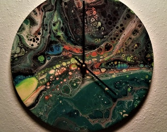 """Pistachio Lava- Acrylic """"Dirty Pour"""" Clock on Old Record"""