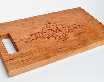 Cutting Board Personalized Cutting Board Laser Engraved Cherry 8x14 Wood Cutting Board CB814MI