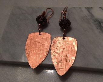 Copper Sheild Earrings w/Beads