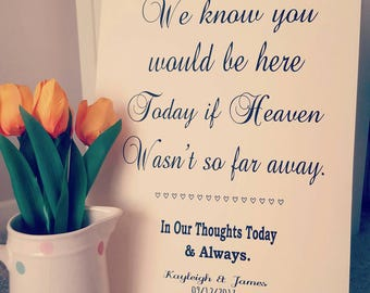 A3 In Loving Memory Heaven Wedding Remembrance poem sign rustic/vintage.  Personalised.