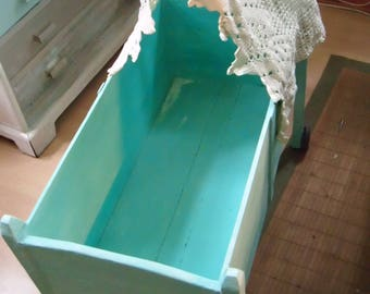 Shabby chic vintage doll bed, shabby occasional table, cot on Rolls-sleep well