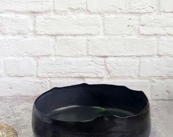 serving dish, black serving dish, large serving dish, serving dishes pottery, serving dish and tray, serving bowl, ceramic serving bowl